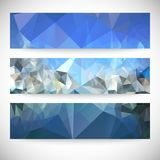 Set of blue abstract backgrounds, triangle design. Vector illustration Royalty Free Stock Photos