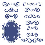 Set of blue abstract curly headers, design element set isolated on white background. Royalty Free Stock Photo