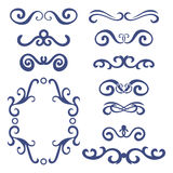 Set of blue abstract curly headers, design element set isolated on white background. Royalty Free Stock Images