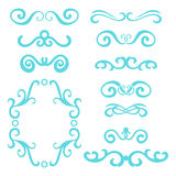 Set of blue abstract curly headers, design element set isolated on white background. Stock Photo