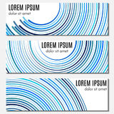 Set of blue abstract header banners with curved lines and place for text. Stock Image