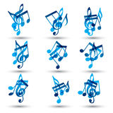Set of blue abstract musical notes symbols. Royalty Free Stock Photos