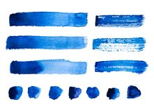 Set of blue abstract watercolor strokes and stains isolated. On white background Stock Image