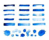 Set of blue abstract watercolor strokes and stains isolated on w. Hite background royalty free illustration
