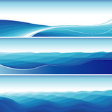 Set Of Blue Abstract Wave Backgrounds Stock Photo
