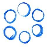 Set of blue acrylic round circles Stock Photos