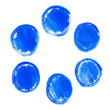 Set of blue acrylic round stains Stock Photos