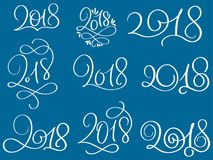 Set of 2018 on blue background. Hand drawn Calligraphy lettering Vector illustration EPS10 Stock Photo