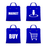 Set of blue bags for shopping online with discount. Set of blue bags for shopping internet Stock Images