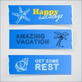 Set of blue banners vacation sketch illustrations Royalty Free Stock Photo