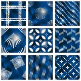 Set of blue batik patterns. 9 elegant detailed blue and beige seamless patterns made to look like batik fabric prints. Graphics are grouped and in several layers Stock Image