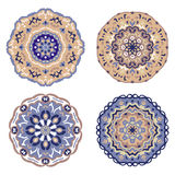 Set of blue and beige mandalas. Vector illustration Royalty Free Stock Photography