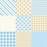 Set of blue and beige seamless geometric patterns. Vector illustration. Vector set of nine seamless geometric patterns for scrapbooking in blue and beige colors Stock Photography