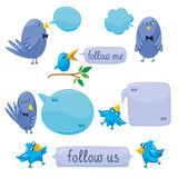 Set Of Blue Birds With Blobs Royalty Free Stock Image
