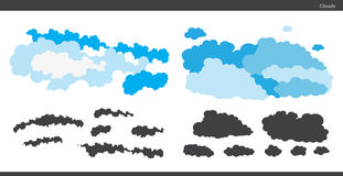 Set of blue and black clouds royalty free illustration