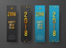 Set of blue and black vertical web banners Happy New Year 2018 Stock Photo