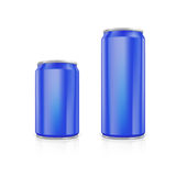 Set of blue blank aluminium cans. Royalty Free Stock Images