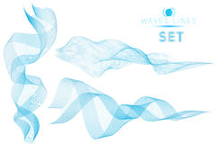 Set blue blend massive waves water abstract background for desig. N royalty free illustration