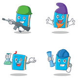 Set of blue book character with army elf professor architect Royalty Free Stock Images