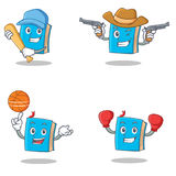 Set of blue book character with baseball cowboy basketball boxing Stock Images