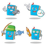 Set of blue book character with gamer clock fishing student. Vector illustration stock illustration