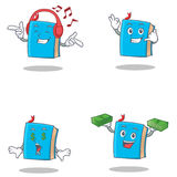 Set of blue book character with listening music call me money eye. Vector illustration Stock Image