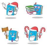 Set of blue book character with Santa candy student judge. Vector illustration Royalty Free Stock Image