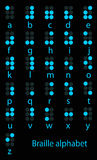 Set of blue braille alphabet Stock Images