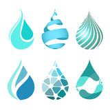 Set of blue bright different water drop icons. water drop logo Royalty Free Stock Image