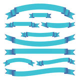Set of blue bright ribbons and banners on white background. Vector illustration. Stock Images