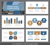 Set of blue and brown elements for multipurpose presentation template slides with graphs and charts. Leaflet, corporate. Vector template for multipurpose Royalty Free Stock Photography