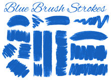 Set of blue brush strokes. Illustration Royalty Free Stock Images