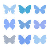 Set of blue butterflies Stock Photography