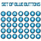 Set of blue  buttons Royalty Free Stock Photos