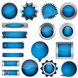 Set of blue buttons Stock Image