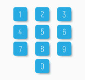 Set of blue buttons with numbers from 0 to 9. Stock Images