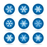 Set of blue Buttons. Snowflakes Icon. Vector Illustration. Royalty Free Stock Images