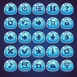 Set blue buttons for web video game in style marmalade Royalty Free Stock Images