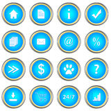 Set of blue buttons Stock Images