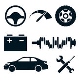 Set of blue car service icons Stock Photography