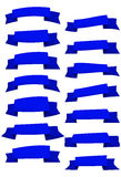 Set of blue cartoon ribbons and banners for web design. Royalty Free Stock Image