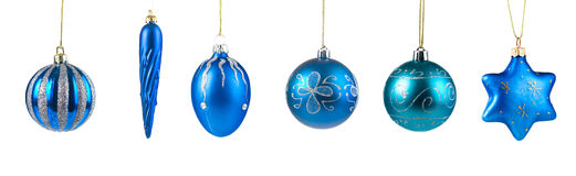 Set of blue Christmas balls Royalty Free Stock Images