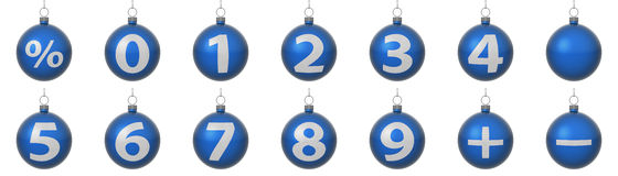 Set of blue Christmas balls with silver numbers. Set of isolated on a white background blue Christmas balls with silver numbers. Set contains all digits, percent stock illustration