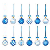 Set of blue Christmas balls Stock Images