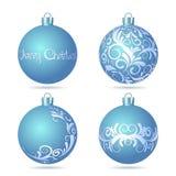 Set of Blue Christmas balls on white background. Royalty Free Stock Photos