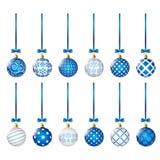 Set of blue Christmas balls Stock Photos