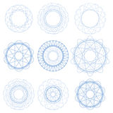 Set of Blue Circle Ornaments Royalty Free Stock Photo