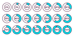 Set of blue circle percentage diagrams for infographics Stock Image