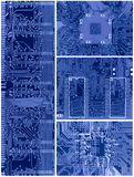 Set of blue circuit boards stock images