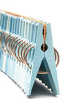 Set of blue clothespin Royalty Free Stock Photo